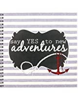 3dRose db_203385_1 Anchors Away Nautical Themed Stripes in Gray, White & Red Drawing Book, 8 by 8
