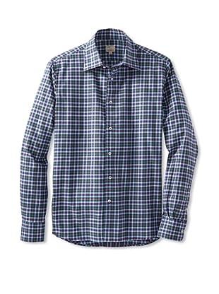 Mason's Men's Long Sleeve Woven Plaid Shirt (Sky Blue Multi)