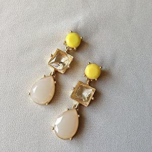 No Strings Attached Yellow Pastel Drop Statement Earrings