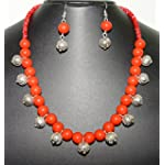 Kalakrita - Bright Red & Silver Bead Necklace