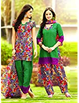 Cotton Printed Green Unstitched Patiala Suit - NSTP2005