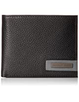 Geoffrey Beene Men's Double Billfold In Milled Leather with Plaque Logo, Black/Smoke, One Size