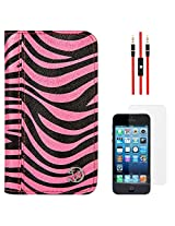 VanGoddy Zebra Print Mary Portfolio Self Stand Case Cover For Apple iPhone 5S / 5G (Pink) + AUX Cable + Matte Screen