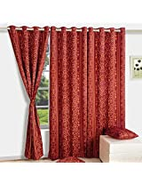 Swayam Printed Blackout Window Curtain With Eyelets - Maroon