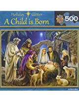 Holiday Glitter A Child is Born Jigsaw Puzzle, 500-Piece