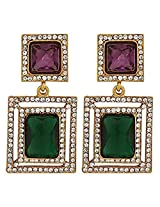 The Jewelbox Green & Maroon Stone American Diamond Cocktail Square Earring