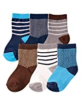 Hudson Baby 6 Pair Socks Gift Set, Blue and Grey Herringbone, 0-6 Months