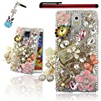 Ancerson Golden Handbag with White Rose Pearls Tassel Pink Camellia Colorful Diamond Silvery Blossom Rose Red Raindrop Butterfly 3D Handmade Luxury Shining Glitter Crystal Rhinestones Hard Back Case Cover---- Free with a Red Stylus Touchscreen Pen a 3.5mm Samsung Galaxy Note 3 III N9000 N9002 N9005