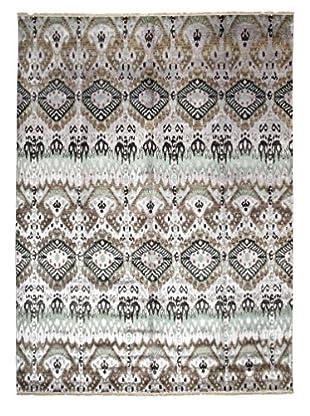 Darya Rugs Ikat Oriental Rug, Lavender/Seagreen, 9' 1
