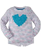 Design History Heart Sweater Tunic (Toddler/Kid) - Sky Blue-4