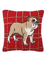 English Bulldog Christmas Plaid Hooked Wool Dog Throw Pillow - 16 X 16