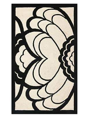 Trina Turk Rugs Deco Floral Hook Rug (Black)