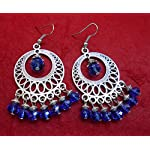 German silver fancy danglers with fire blue crystals