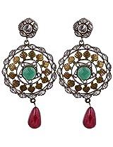 Agarwal Bentex Gold Plated American Diamond Meena Earring For Women