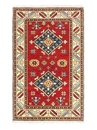 Hand-Knotted Royal Kazak Rug, Dark Red, 3' 2
