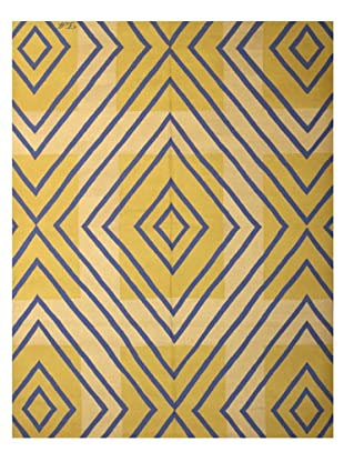 French Accents Modern Flatweave Killim Rug (Blue/Gold/Cream)