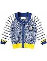 Infant Boys Front Open Zipper Sweater, Multi Colour (0-6 Months)