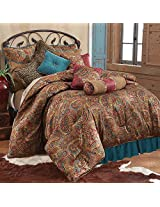 HiEnd Accents San Angelo Comforter Set with Teal Bedskirt, Full