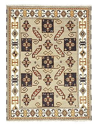 Hand-Knotted Royal Kazak Wool Rug, Medium Weak Green, 4' 9