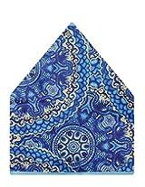 Tiekart Self Design Polyester Pocket Square (Ps516_Blue)