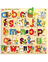 Skillofun Lower Alphabet Tray with Picture with Knobs, Multi Color