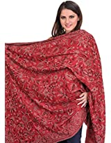 Exotic India Reversible Jamawar Shawl from Amritsar with Woven Paisleys - Color Garnet RoseColor Free Size