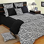 Swayam Double Fitted Bed Sheet with Two Pillow Covers - Black & White - Zebra