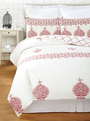 Filling Spaces Annika Reversible Duvet Set (Red-White)