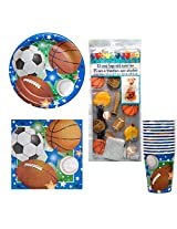 02 Sports Theme Birthday Or Team Party Kit Party Pack Supplies For 12 Football, Baseball, Soccer, & Basketball, Plates, Napkins, Cups, Cello Treat Bags