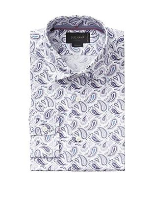Duchamp Men's Rococo Paisley Print Shirt (Praline)