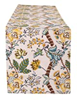 Exclusive Hand Block Printed Cotton Table Runner White Floral By Rajrang