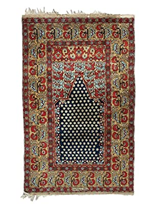 Semi Antique Persian Rug, Red/Cream/Blue, 7' 4