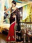 Jacqueline Fernandez Black & Red Designer Saree-TBSAENVY10105
