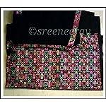 Black Phulkari Cotton Dress Material With Dupatta