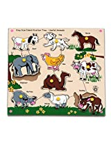 Skillofun Kingsize Identification Tray Useful Animals with Knobs, Multi Color