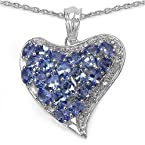 3.56CTW Genuine Tanzanite & White Diamond .925 Sterling Silver Heart Shape Pendant