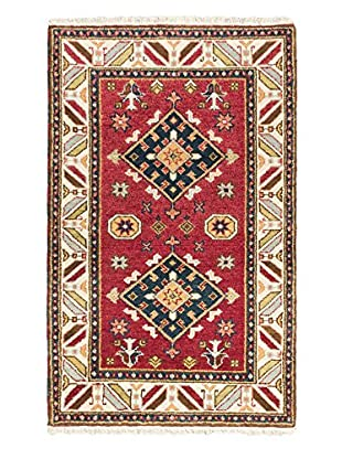 Hand-Knotted Royal Kazak Wool Rug, Dark Red, 3' 1