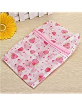 Floral Print Zip Up Mesh Clothes Protective Washing Laundry Bag (Size:L)