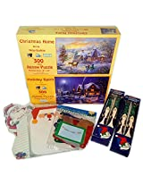 Christmas Themed Puzzles, Decor, Stationary Gift Bundle [7 Piece]