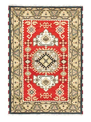 Hand-Knotted Royal Kazak Wool Rug, Khaki/Light Red, 4' 1