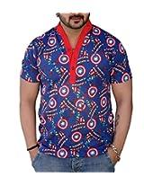 Black Collection Men's Turtleneck Cotton T-Shirt (Blue_Large)