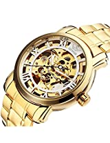 SEWOR Transparent Steampunk White Skeleton Silver Steel Men's Mechanical Watch