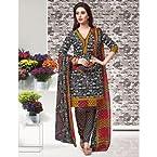 Crepe black designer printed unstiched suit with dupatta PF90323Salwar Kameez