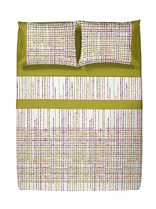 Casual Textil Juego de Sábanas Network (Verde)