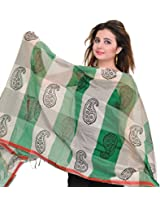 Exotic India Double-Shaded Chanderi Dupatta with Printed Paisleys - Color GreenColor Free Size