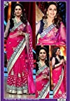 Clickedia Pink and Gold Beautiful Style Saree