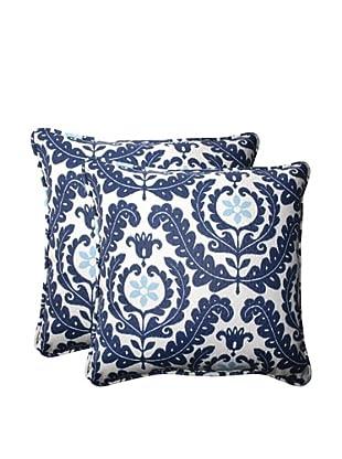 Set of 2 Outdoor Meridian Pool Square Corded Toss Pillows (Navy/Aqua/Cream)