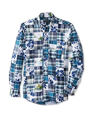 Gitman Blue Men's Mashup Long Sleeve Sportshirt (Navy)