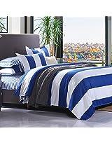 3 Or 4pcs Polyester Fiber Blue White Big Stripe Reactive Print Bedding Set