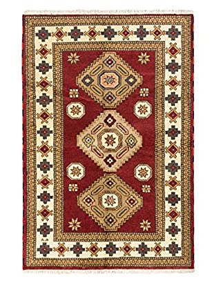 Hand-Knotted Royal Kazak Wool Rug, Dark Red, 4' x 5' 11